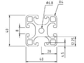40X40 light aluminium profile drg | Makers Electronics